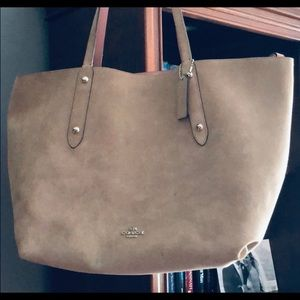 Coach suede/leather pink tote with Coach wallet
